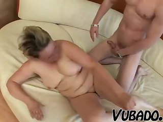 Old vagina fucked by the young guy with the addition of her titties give his load