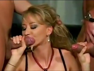 double blowjob 3 - red dress blonde