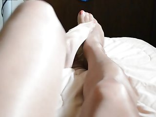 more rubbing pantyhose legs and feet