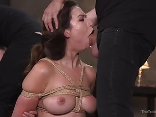 slave melissa moore gets her hairy pussy and deep throat trained