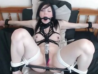 cutie tied to bed with lovense toy
