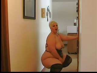 large blond bbw dances and plays in sexy lingerie